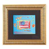"""Peter Max. """"Flag with Heart,"""" enhanced serigraph"""