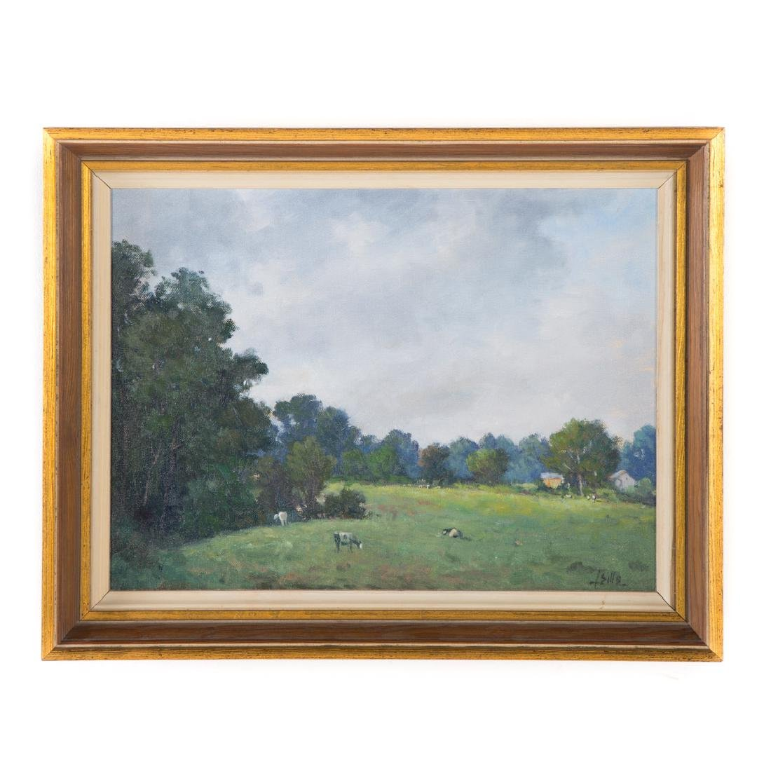 John Brandon Sills. Landscape with Cattle, oil