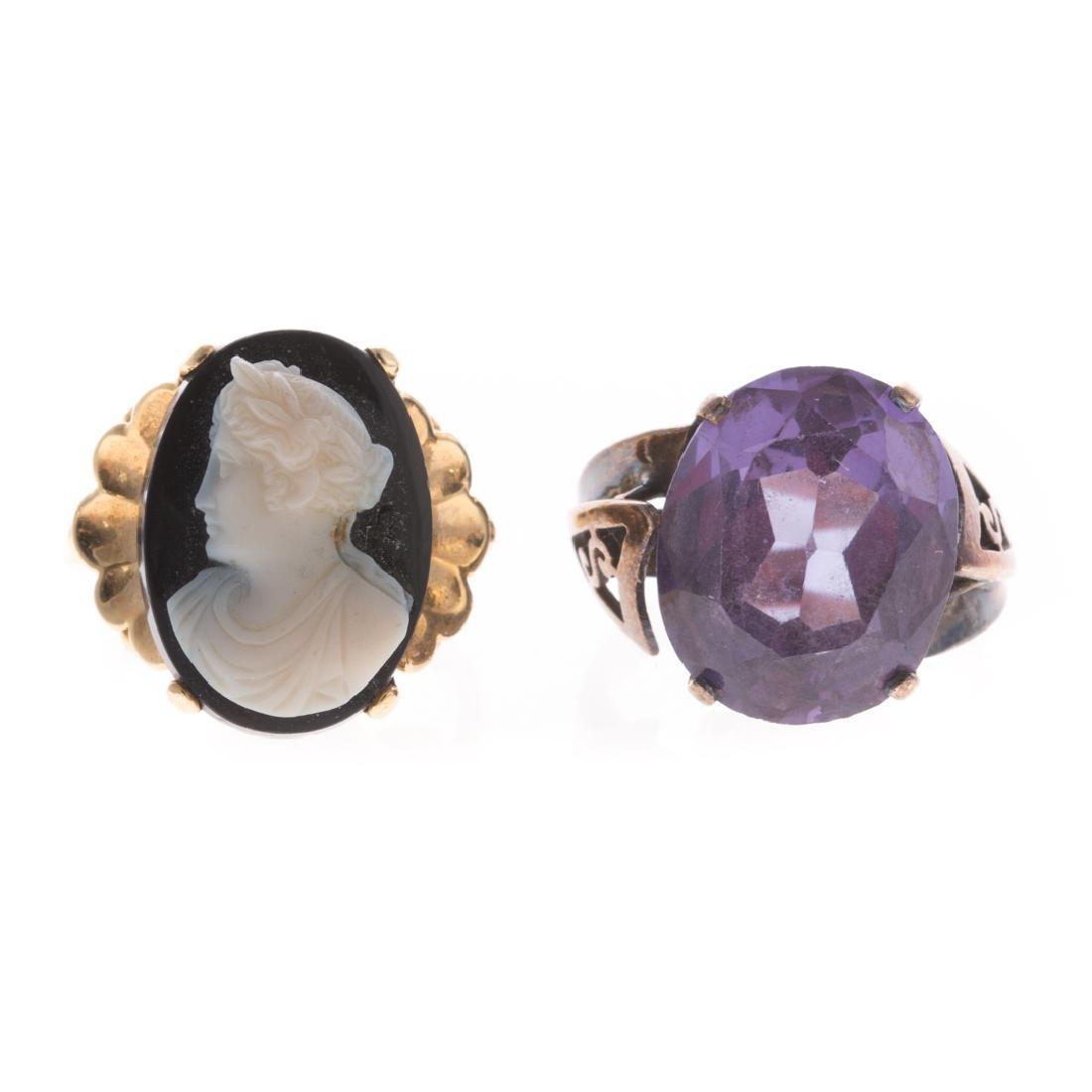 A Pair of Vintage Gemstone rings in Gold