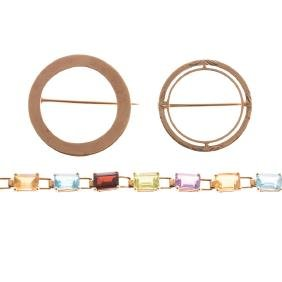 A Pair of Circle Brooches and Gemstone Bracelet