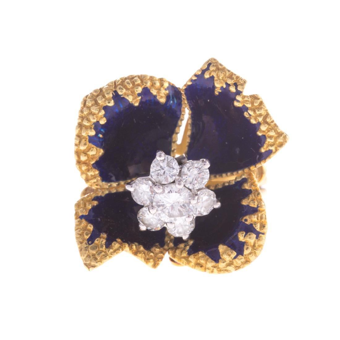A Lady's Blue Enamel & Diamond Flower Ring in 18K