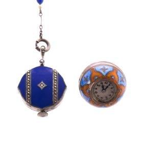 Two Lady's Enamel Pendant Watches