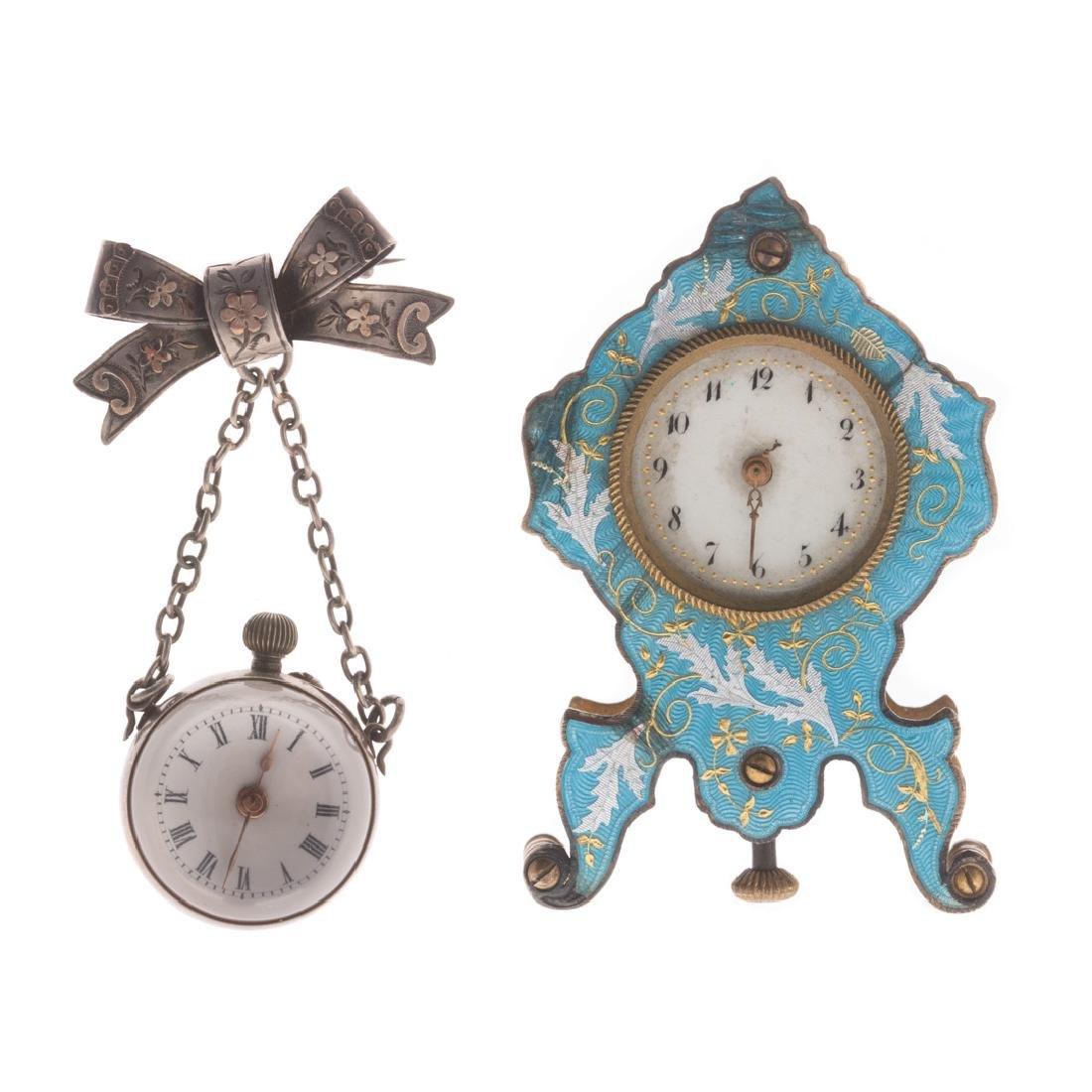 A Miniature Clock & a Ball Watch Brooch