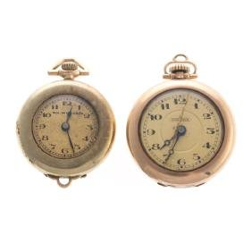 A Pair of Lady's Gold Pendant Watches