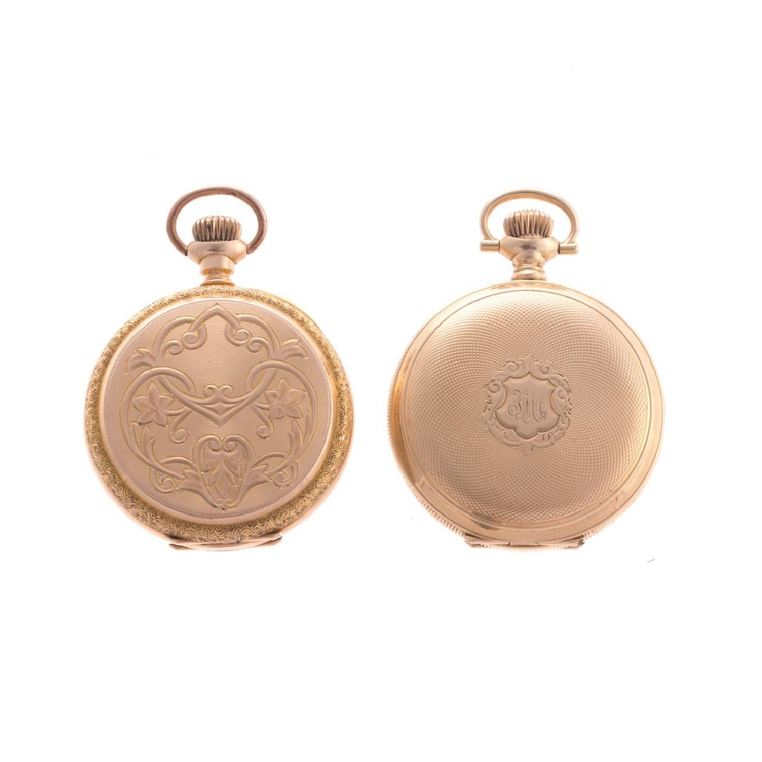 A Pair of Lovely Elgin Pocket Watches in 14K Gold