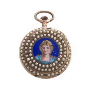 A Lady's Seed Pearl & Enamel Pocket Watch