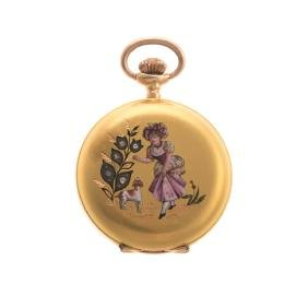 A Lady's 18K Enamel & Diamond Pocket Watch
