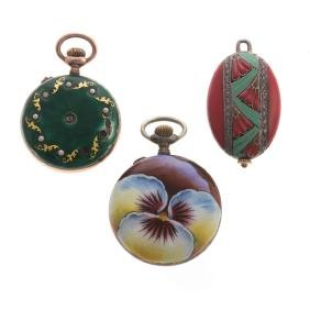 A Trio of Lady's Enamel Pocket Watches