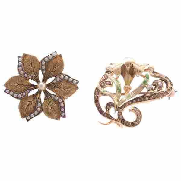 Pair of Art Nouveau Enamel & Seed Pearl Brooches