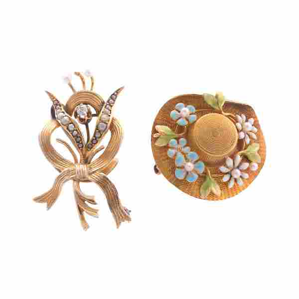 A Pair of Enamel, Seed Pearl and Diamond Brooches