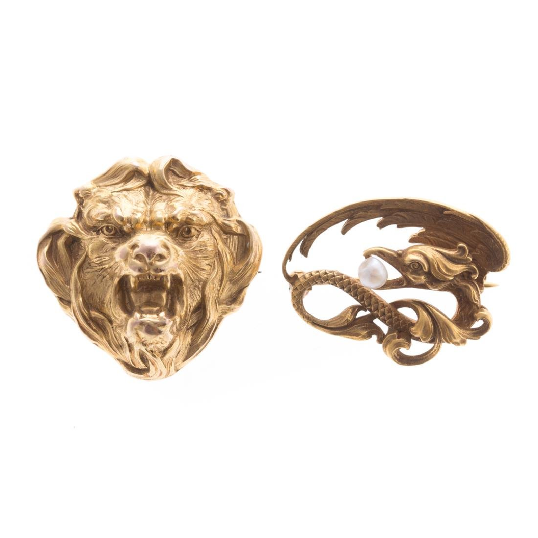 A Pair of 14K Art Nouveau Brooches