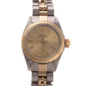 A Lady's Rolex Mixed Metal Oyster Perpetual Watch