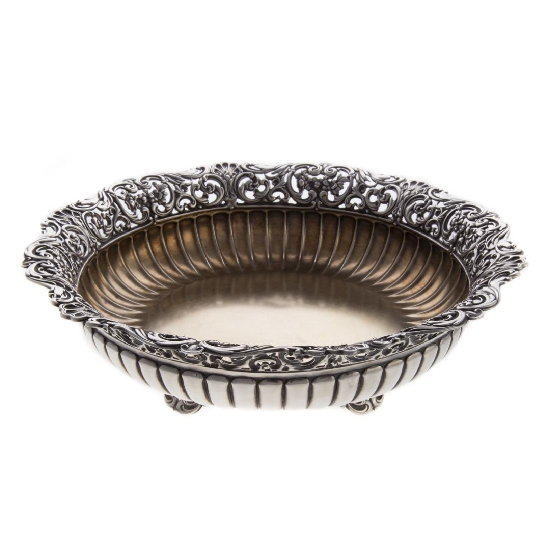 Art Nouveau style sterling footed center bowl