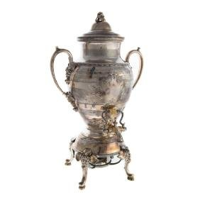 Victorian silver-plated hot water kettle on stand