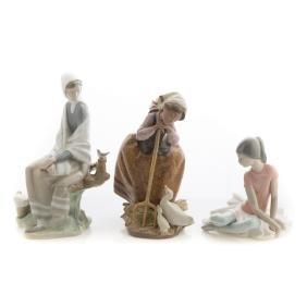 Three Lladro porcelain figures