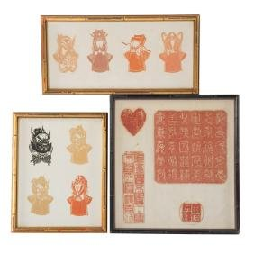 Japanese Kirie and Chinese chop rubbings