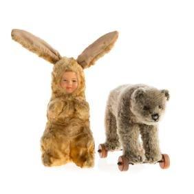 Steiff miniature bear on wheels and bunny doll
