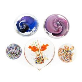 Five art glass paperweights