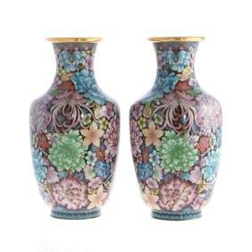 Pair of Chinese cloisonne enamel Millefiori vases