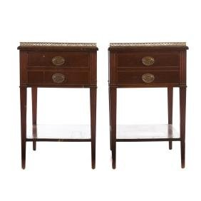 Pair Federal style mahogany side tables