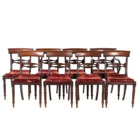Set of 8 American Classical carved mahogany chairs