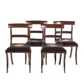 Four Regency mahogany klismos chairs