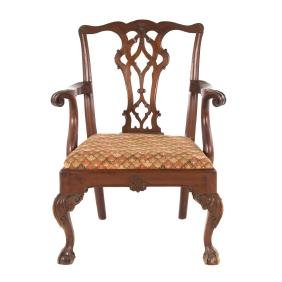 Chippendale style carved walnut armchair