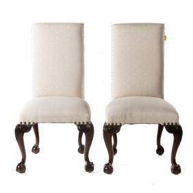 Pair Chippendale style upholstered side chairs