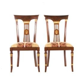 Pair of French Empire style mahogany side chairs