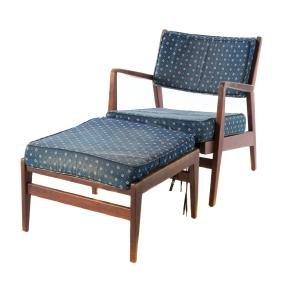 Danish Modern teakwood armchair and ottoman