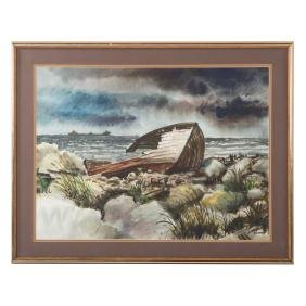 Michael Frary. Wrecked Boat on Shore, watercolor