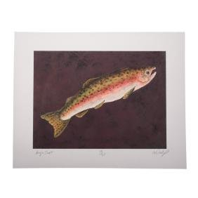 """William Dunlap. """"Angler Trout,"""" color lithograph"""