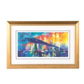 "LeRoy Neiman. ""Brooklyn Bridge"", lithograph"