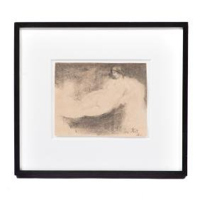 Leon Kelly. Reclining Nude, vine charcoal on paper
