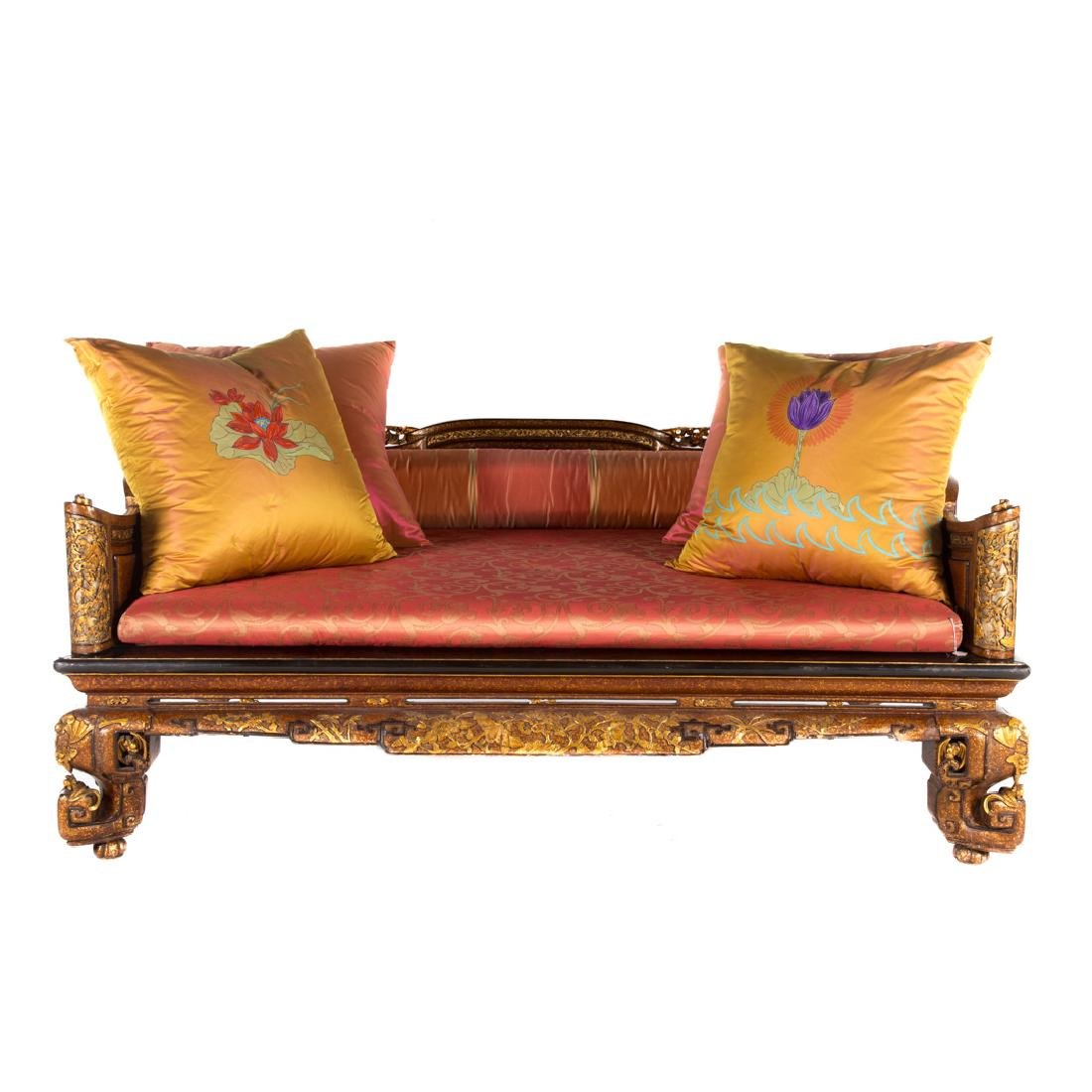 Chinese carved & lacquered wood opium bed