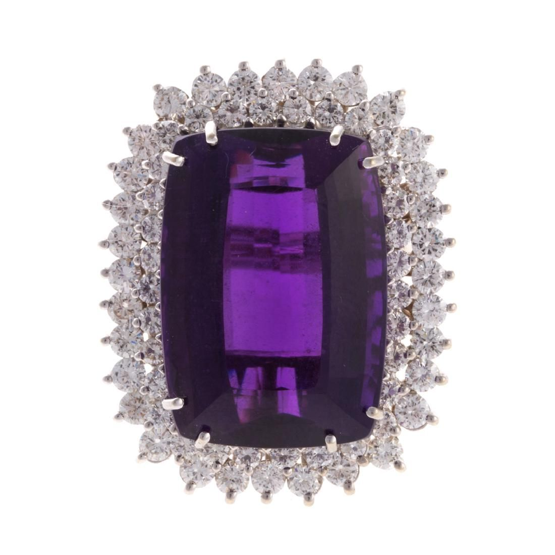 A Lady's Amethyst and Diamond Ring in 14K