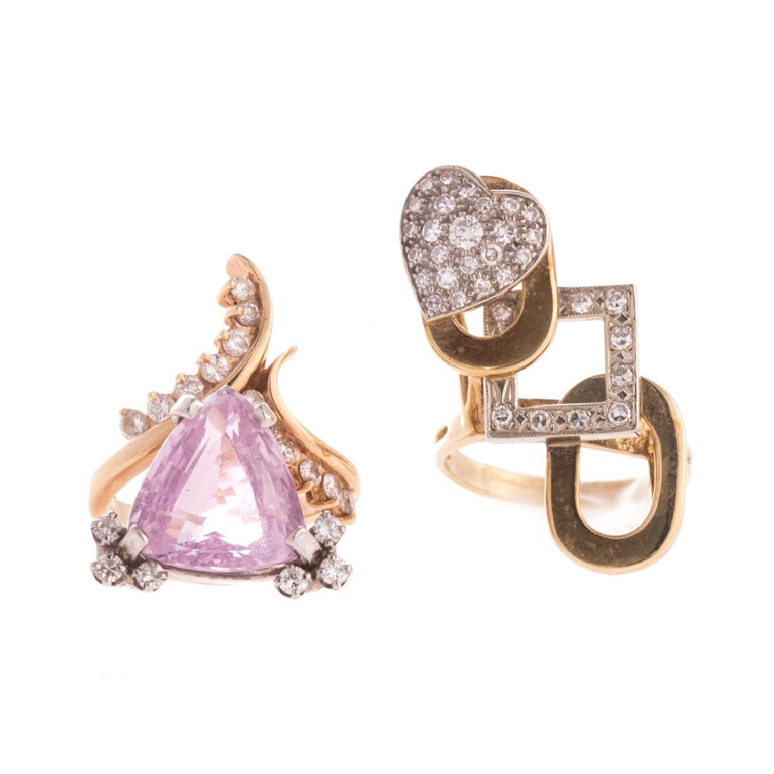 Two Lady's Contemporary Diamond Rings in 14K