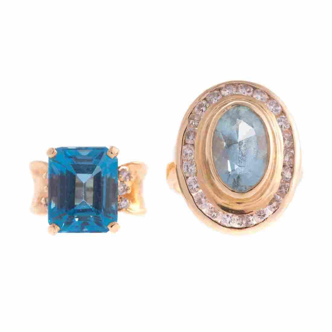 Two Lady's Gemstone & Diamond Rings in 14K