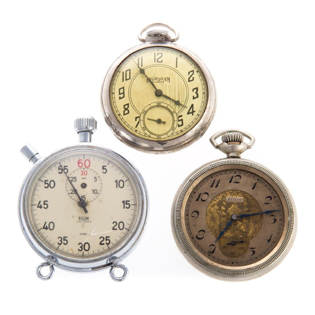 Two Pocket Watches & a Stop Watch