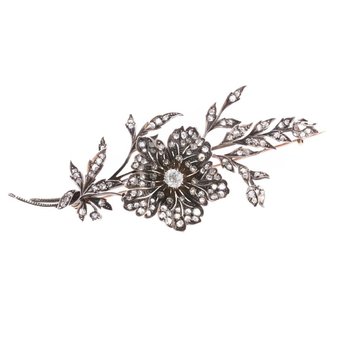 A Georgian En Tremblant Diamond Floral Brooch