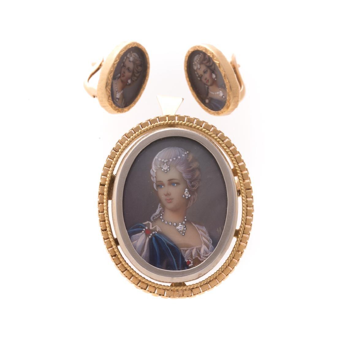 A 18K Hand-Painted Portrait Earring & Pendant Set