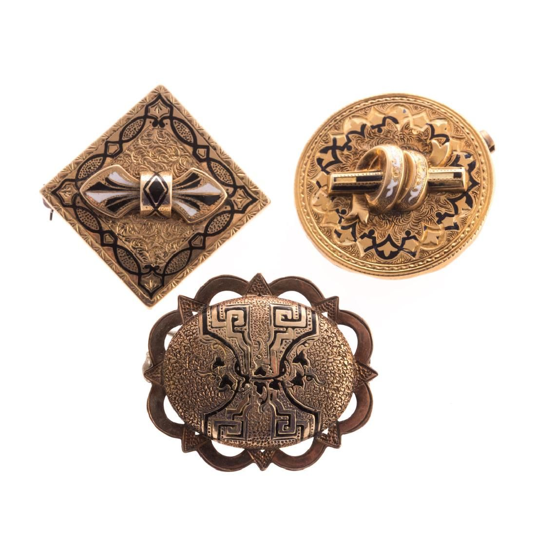 A trio of Victorian Enamel Mourning Pins