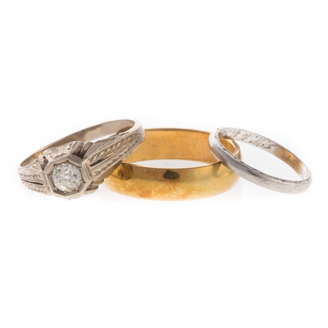 A Vintage Diamond Ring & Two 18K Gold Bands