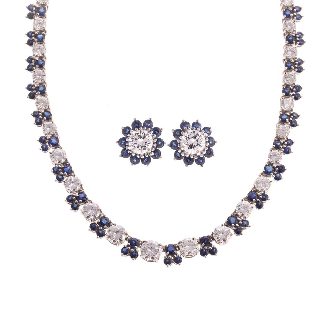 A Platinum, Sapphire & Diamond Necklace & Earrings
