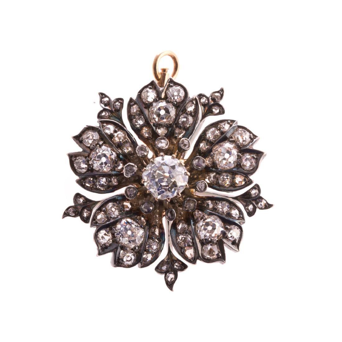 A Victorian Diamond Starburst Pin/Pendant in 14K