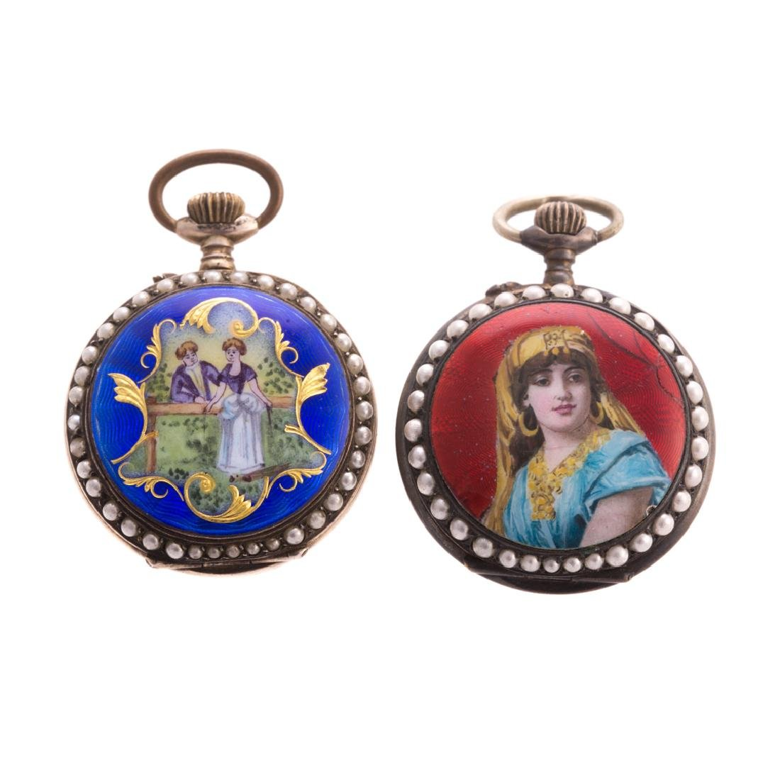 A Pair of Lady's Enamel Pendant Watches
