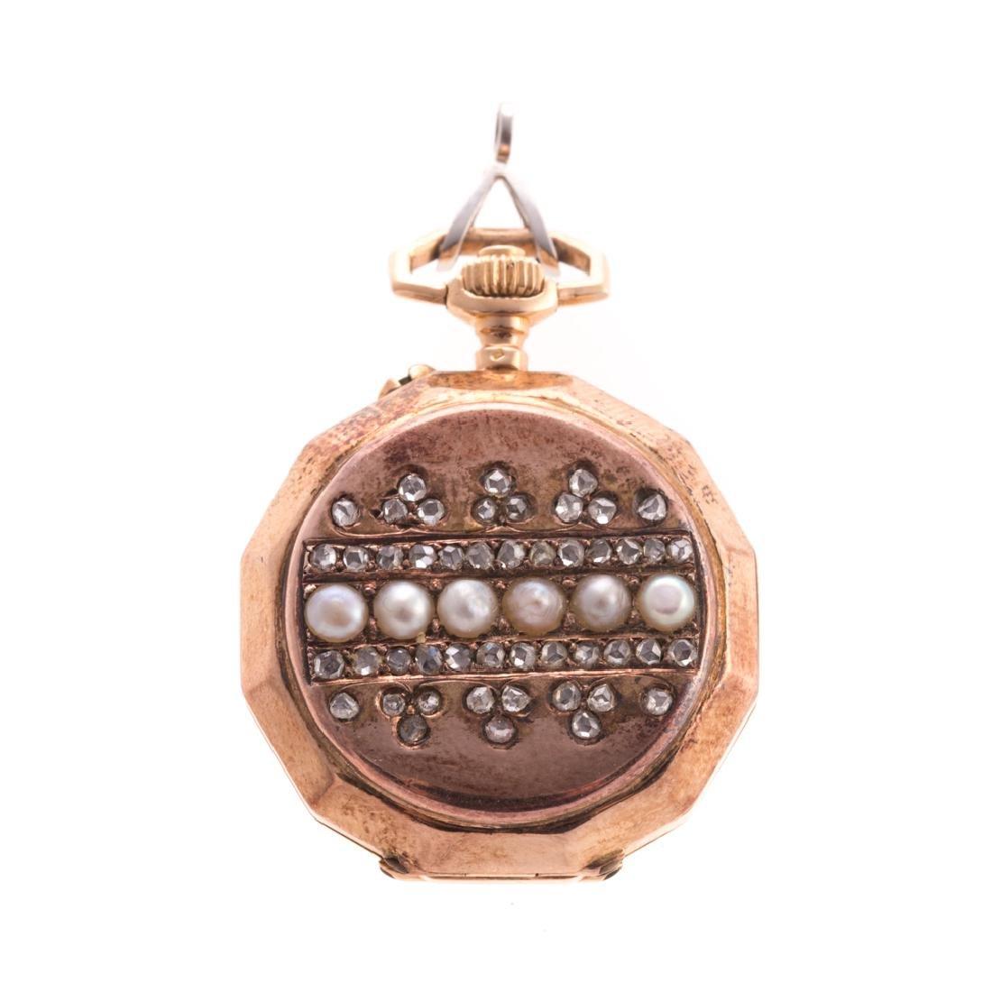 A Lady's Diamond & Seed Pearl Pendant Watch