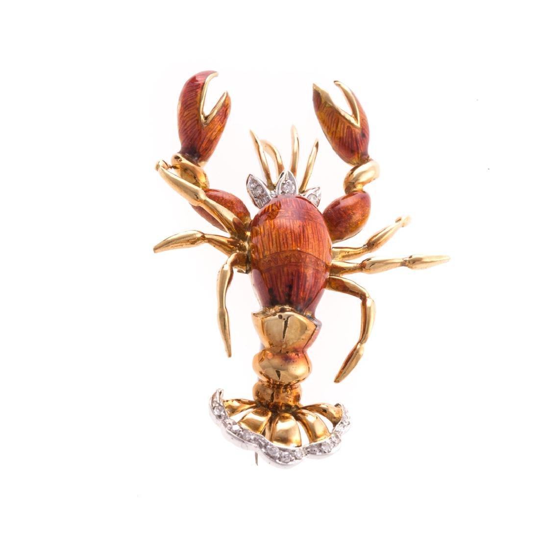 A 18K Enamel & Diamond Lobster Pin by Tiffany & Co