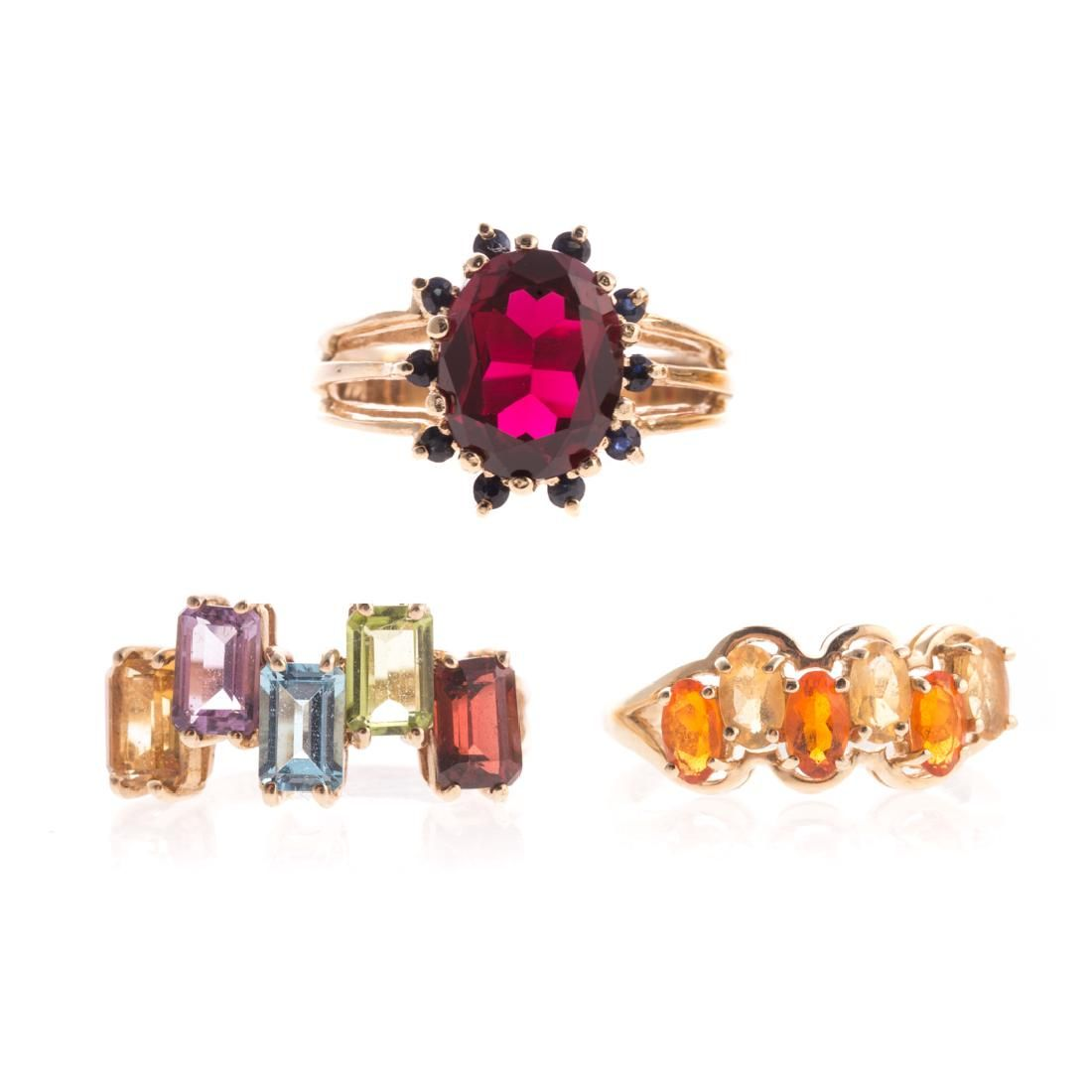 A Trio of Lady's Gemstone Rings in Gold