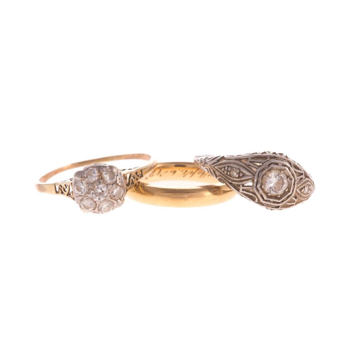 A Trio of Lady's Diamond Filigree Rings